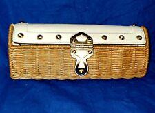 Michael Kors Santorini Brown Rattan Wicker Clutch w/Ivory Leather Gold Hardware