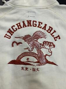 *Authentic* Evisu XL Embroidered Crane Cream Full-Zip Hoodie Sweatshirt Sweater