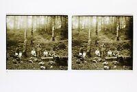 Francia Famille snapshot Amateur Foto Stereo L7n9 Vintage Placca Da Lente