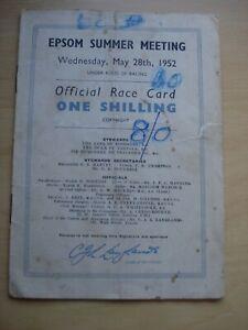 Epsom Derby Racecard 1952 Tulyar