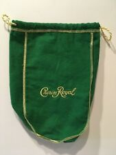"CROWN ROYAL BAG GREEN 9"" WITH DRAW STRING -  NEW"