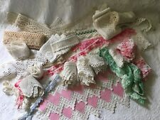 Lot Lovely Antique Vintage Crochet LACE Trim Sewing WEDDING Tatting Many UNUSED