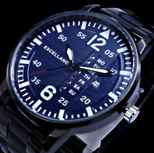 Herrenuhr Armbanduhr blau Metallik schwarz Keramiklook 2800039 Von Excellanc