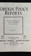 1932 Foreign Policy Reports The Political Structure of the Soviet State Booklet