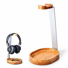 Avantree Universal Wooden & Aluminum Headphone Stand Hanger with Cable Holder fo