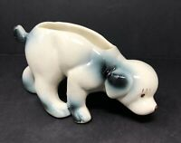 Vintage Ceramic Porcelain White Blue Sniffing Puppy Dog Planter Shiny Glaze