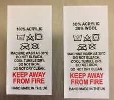 WASH CARE CLOTHING GARMENT LABELS DIFFERENT FIBRE CONTENTS AVAILABLE