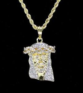 "14k Gold Plated Jesus Piece Cz Pendant 24"" Rope Chain Hip Hop Necklace"