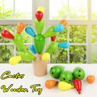 Baby Early Learning Montessori Game Educational Cactus Wooden Toy Kids Children
