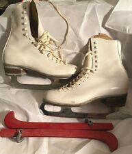 Oberhamer White Leather Figure Ice Skates Size 4 1/2