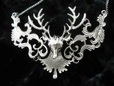 Large Silver Deer Stag Antlers Large Wicca Necklace Skull Filigree Gothic Horns