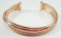 Sterling 14K Rose Clad Cuff Bracelet Polished Rope Twist 4 Row 7.25""
