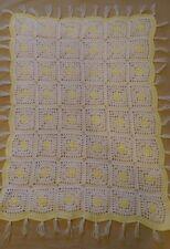 Granny Square Crochet Blanket Yellow White Small Lap Handmade Gender Neutral