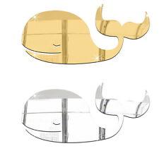 Wal Spiegel Deko Goldspiegel Kunststoff PS mit Klebepunkt Bad WC Dusche Pottwal