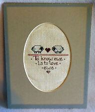 Finished CROSS STITCH SHEEP EWE completed To know Ewe is to love Ewe Matted