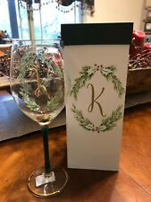 Monogram K Christmas Wine Glass Elegant Long Stem with Gold Trim & Gift Box New