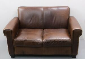 JOHN LEWIS CHESTNUT BROWN LEATHER 2 SEATER SOFA
