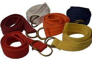 Men's Asst Colors Thick Canvas Web Belt With D-Ring Closure
