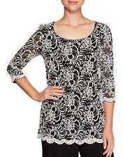 ALEX EVENINGS® L Black & White Sequin Lace Tunic Blouse NWT $129
