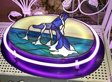 Spectaculsr Stained Glass and Neon Whale's Tail 18 x 14 x 5""