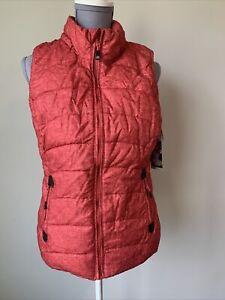 Green Tea Puffer Vest Womens Size Small Pumpkin Rust Zip Soft Lining New W Tags