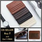 Leather Slim Flat Wallet Card Case Card Holder Front Pocket Wallet Credit ID