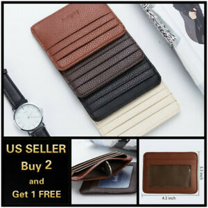 Leather Slim Flat Wallet Card Case Card Holder Front Pocket Wallet Credit ID