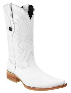 Men's White Diamonds Deer Print Leather Cowboy Western Boots Pointed Toe 3X