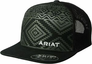 Ariat Men's Adjustable Snapback Mesh Cap Hat (Aztec Black, One Size)