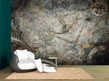 Steampunk Tecxnolagy Textured Clock Wall Mural Photo Wallpaper GIANT WALL DECOR