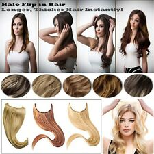 120g Extra Thick  Wire No Clips Flip In Halo Hair 100%Remy Human Hair Extensions