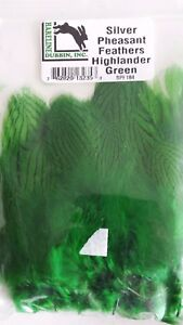 """HARELINE  SILVER PHEASANT """"  body feathers strung """" GREEN HIGHLANDER  Fly Tying"""