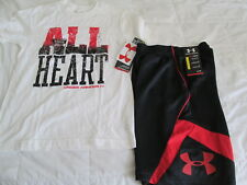 "NEW Boys UNDER ARMOUR 2pc ""ALL HEART"" Wht Tee+ Blk/Red Shorts Sm 8 FREE SHIP"