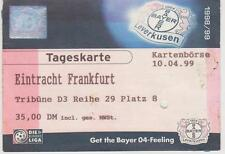 Ticket  Bayer 04 Leverkusen -  Eintracht Frankfurt 1. Bundesliga Saison 1998/99