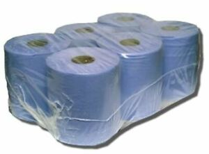 QUALITY 6 PACK OF DOUBLE PLY BLUE ROLL HAND CLEANER TOWEL TISSUE PAPER GARAGE