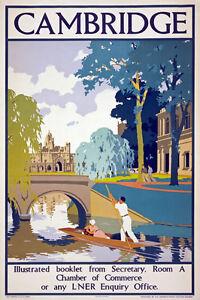 TX32 Vintage 1930 LNER CAMBRIDGE Railway Travel Poster Re-Print A4