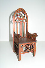 Gothic Throne for dolls 12 inches Furniture chair 1:6 Barbie FR wooden OOAK NEW