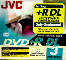 3 Pk JVC DVD+R DL Double Layer FOR +R DL Camcorders 55min 2.6GB Each VP-RDL26GU3