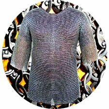 Round Riveted With Flat Warser Chainmail shirt 9 mm Large Size Half sleeve Shirt