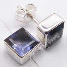 """925 Sterling Silver IOLITE Square STONE RETRO STYLE Studs Earrings 0.3"""" BIJOUX"""