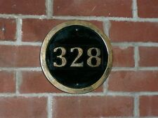 "Carved Custom Address Sign Round 10"" Brass Finished Wood"