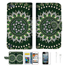 Green AZTEC TRIBAL Wallet Case Cover For iPod Touch 5 & 6-- A002
