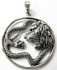 Sterling Silver  925  Lion  And  Serpent  Pendant     !!        Brand  New  !!