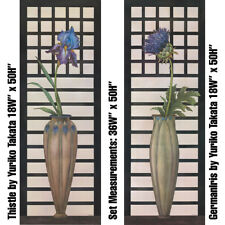 """THISTLE (18Wx50H"""") and GERMANIRIS (18Wx50H"""") by YURIKO TAKATA -CHOICES of CANVAS"""