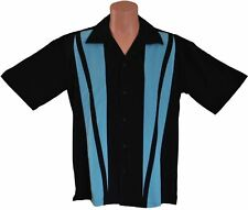 Mens Sz MEDIUM Bowling Shirt Charlie Sheen Retro Vintage Rockabilly Aqua Strike