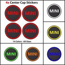 x4 MINI Carbon Fiber Vinyl Wheel Rims Centre Cap Stickers Decals Cooper Works
