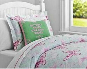 Pottery Barn Kids Sabrina Duvet Pink Teal Butterflies Full Queen Cotton NWOT