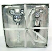 Disney Parks Mickey Mouse Silver Wine Stopper & Bottle Opener Cork Screw Set