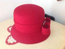 Vintage Womens Hat Betmar Bucket Style Red Wool