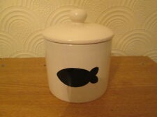 Cream ceramic with black fish motif storage jar. New.
